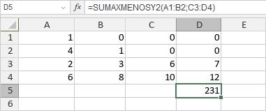 Función SUMAXMENOSY2