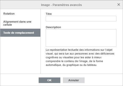 La fenêtre Image - Paramètres avancés L'onglet Texte de remplacement