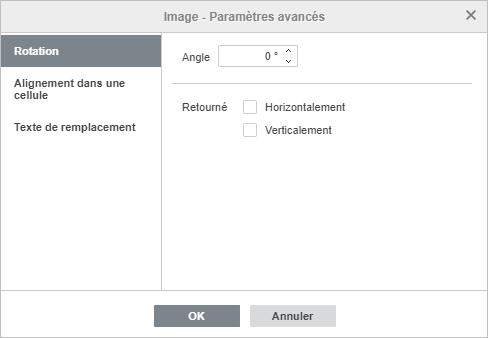 La fenêtre Image - Paramètres avancés Rotation