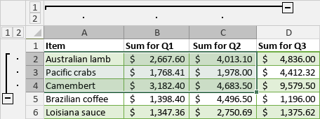 Grouped rows and columns