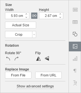 Image Settings Right-Side Panel window
