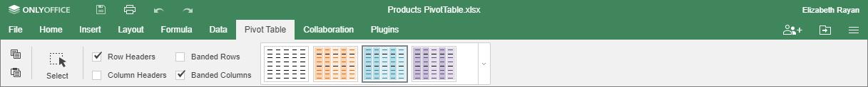 Pivot Table tab