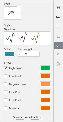 Chart Settings Right-Side Panel window