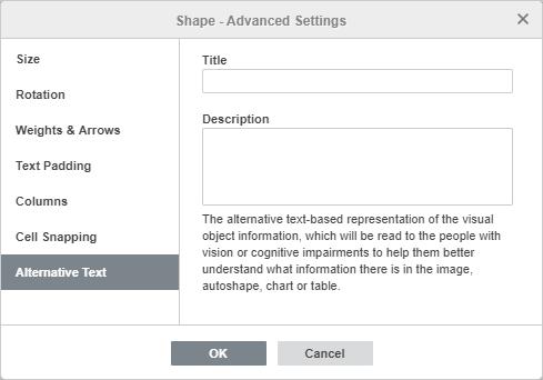 Shape - Advanced Settings: Alternative Text