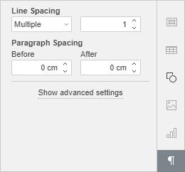 Text settings tab