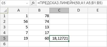 Функция ПРЕДСКАЗ.ЛИНЕЙН