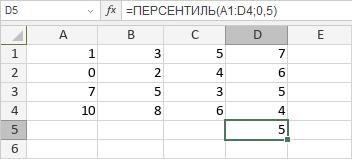 Функция ПЕРСЕНТИЛЬ