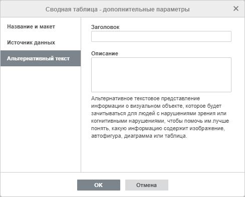 Дополнительные параметры сводной таблицы