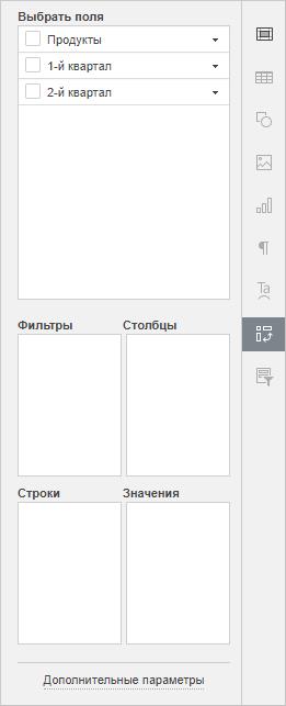 Вкладка Параметры сводной таблицы