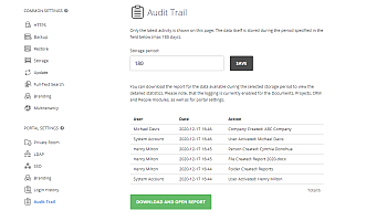 Receiving audit trail data