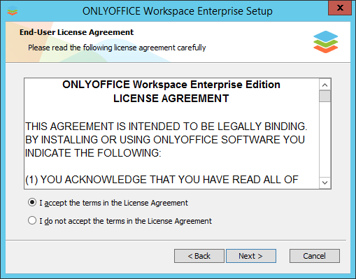 How to deploy ONLYOFFICE Workspace Enterprise Edition for Windows on a local server? Step 3