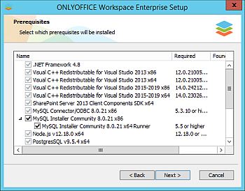 How to deploy ONLYOFFICE Workspace Enterprise Edition for Windows on a local server? Step 2
